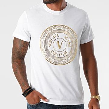 Versace Jeans Couture - Tee Shirt Vemblem Foil 71GAHT12-CJ00T Blanc Doré