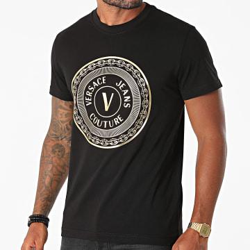 Versace Jeans Couture - Tee Shirt Vemblem Foil 71GAHT12-CJ00T Noir Doré