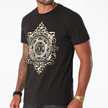 Versace Jeans Couture - Tee Shirt Vemblem Leaf 71GAHF05-CJ00F Noir Doré