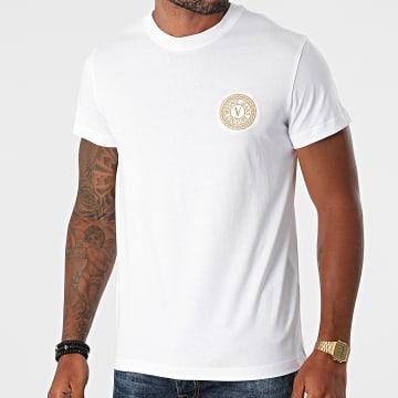 Versace Jeans Couture - Tee Shirt Vemblem Embroidery 71GAHT10-CJ00T Blanc Doré