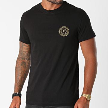 Versace Jeans Couture - Tee Shirt Vemblem Embroidery 71GAHT10-CJ00T Noir Doré