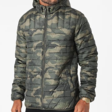 Only And Sons - Doudoune Capuche Paul Vert Kaki Camouflage