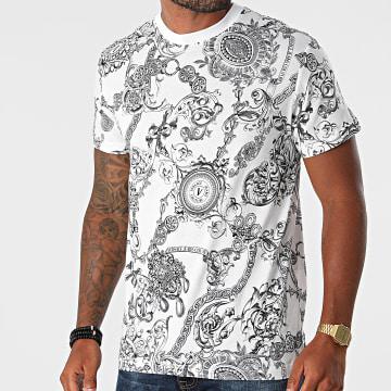 Versace Jeans Couture - Tee Shirt Slim Print Bijoux Baroque 71GAH6S0-JS017 Blanc Renaissance floral