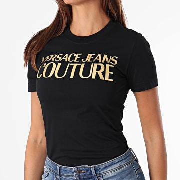 Versace Jeans Couture - Tee Shirt Femme Logo Foil Noir Doré