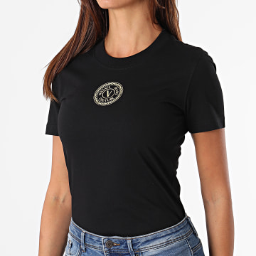 Versace Jeans Couture - Tee Shirt Femme Emblem Foil Noir Doré