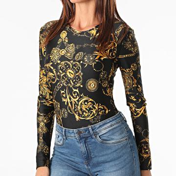Versace Jeans Couture - Body Femme A Manches Longues Lycra Print Baroque Noir Renaissance