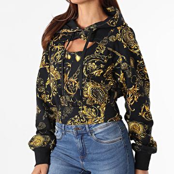 Versace Jeans Couture - Sweat Capuche Femme Crop Print Baroque Bijoux Noir Renaissance