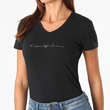 Emporio Armani - Tee Shirt Col V Femme A Strass 163221-1A223 Noir