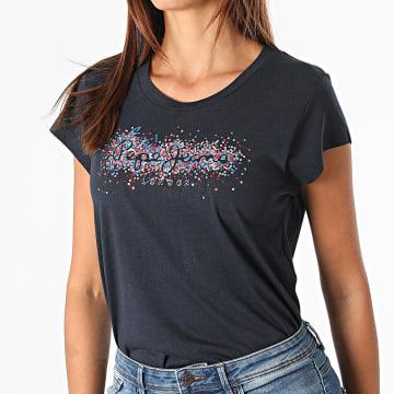 Pepe Jeans - Tee Shirt Femme Strass Berenice Bleu Marine