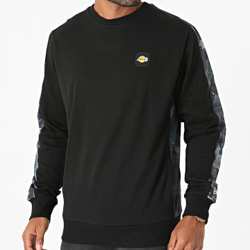 New Era - Sweat Crewneck A Bandes Los Angeles Lakers 12827167 Noir
