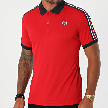 Sergio Tacchini - Polo Manches Courtes A Bandes Nabo 39341 Rouge