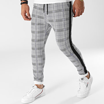 Zayne Paris  - Pantalon Carreaux A Bandes TX-668 Blanc Noir