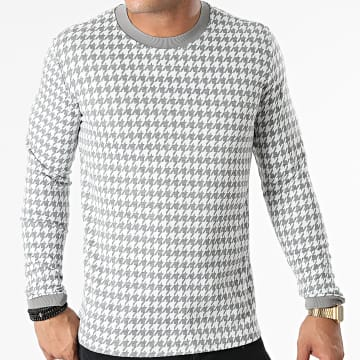 Frilivin - Tee Shirt Manches Longues BM1352 Gris Chiné Blanc
