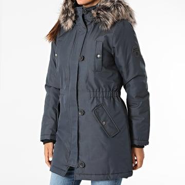 Only - Parka Fourrure Femme Iris Fur Winter Bleu Marine