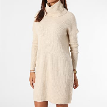Only - Robe Pull Femme Manches Longues Jana Beige