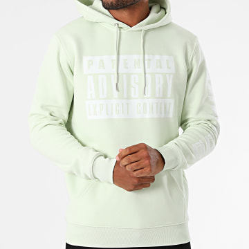 Parental Advisory - Sweat Capuche Logo Vert Mint Blanc
