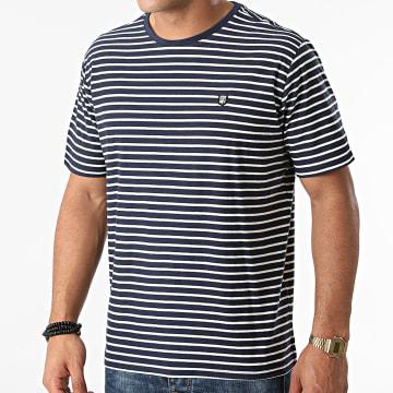 Teddy Smith - Tee Shirt A Rayures Elio Bleu Marine Blanc