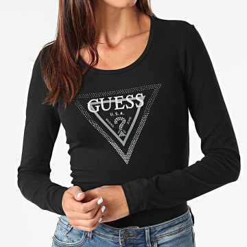 Guess - Tee Shirt Manches Longues Femme W1BI47 Noir
