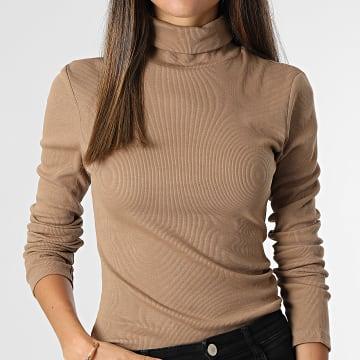 Brave Soul - Tee Shirt Manches Longues Femme Adrian Marron
