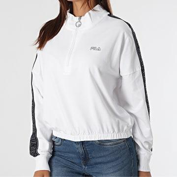 Fila - Sweat Col Zippé A Bandes Femme Crop Maribel Blanc