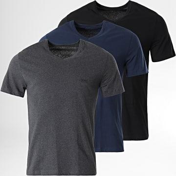 BOSS - Lot De 3 Tee Shirts 50416538 Noir Gris Chiné Bleu Marine