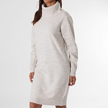 Deeluxe - Robe Pull A Col Roulé Femme Mila Beige Chiné