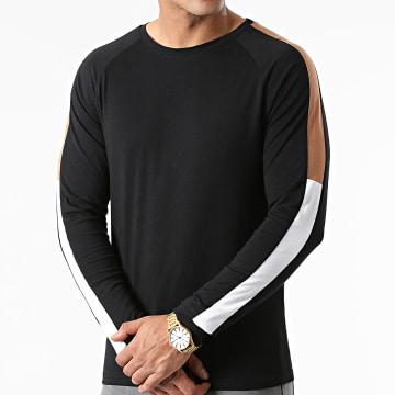 LBO - Tee Shirt Manches Longues Oversize Tricolore 1817 Noir Camel Blanc