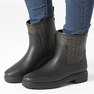 Calvin Klein - Bottes Femme Rain Boot Mono 0609 Black Brown Mono
