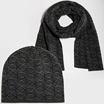 Calvin Klein - Ensemble Bonnet Et Echarpe Shadow Monogram 7498 Gris Anthracite