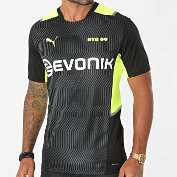 Puma - Tee Shirt De Sport 759063 Noir Jaune Fluo