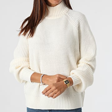 Noisy May - Pull Col Montant Femme Timmy Beige