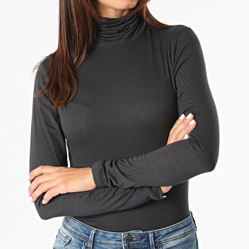 Only - Tee Shirt Manches Longues Femme Lela Life Gris Anthracite