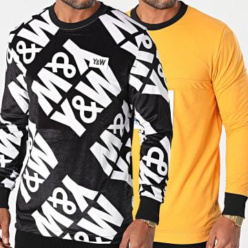 Y et W - Sweat Crewneck Réversible Orange Blanc Noir