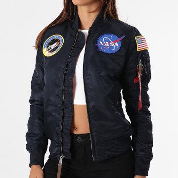 Alpha Industries - Bomber Femme MA-1 VF NASA Bleu Marine