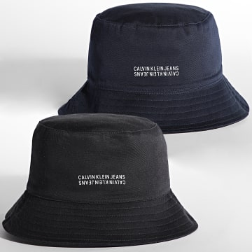 Calvin Klein - Bob Réversible Monogram Cotton 7184 Bleu Marine Noir