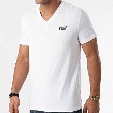 Superdry - Tee Shirt Col V M1011170A Blanc
