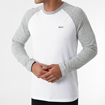 Superdry - Tee Shirt Manches Longues M6010549A Blanc Gris Chiné