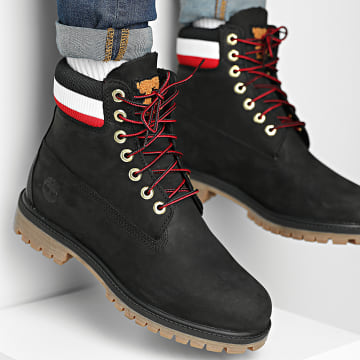 Timberland - Boots Heritage 6 Inch Waterproof A2GZ9 Black Nubuck Red