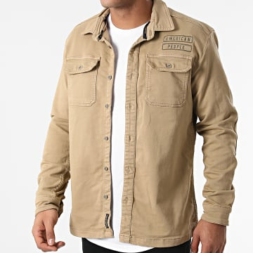 American People - Chemise Manches Longues Colos Beige