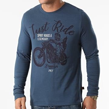 American People - Tee Shirt Manches Longues Tamati Bleu Marine