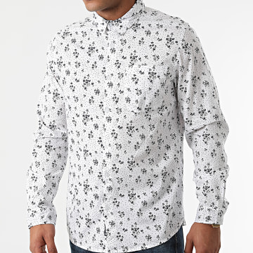 American People - Chemise Manches Longues Floral Create Blanc