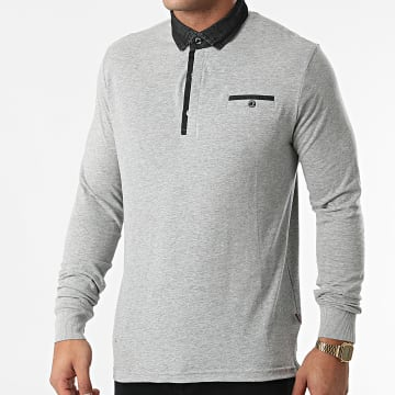 American People - Polo Manches Longues Paolo 01-551 Gris Chiné