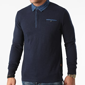 American People - Polo Manches Longues Paolo 01-551 Bleu Marine