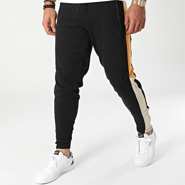 American People - Pantalon Jogging A Bandes Feder Noir