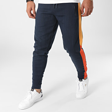 American People - Pantalon Jogging A Bandes Feder Bleu Marine
