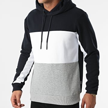Only And Sons - Sweat Capuche Flin Life Colorblock Gris Chiné Blanc Bleu Marine