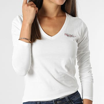 Pepe Jeans - Tee Shirt Manches Longues Femme Col V Bleu PL504990 Blanc