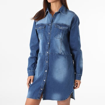 Girls Outfit - Robe Chemise Jean Femme A Manches Longues Riva Bleu Denim