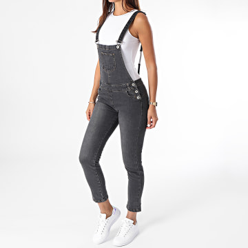 Girls Outfit - Salopette Jean Femme Priya Gris Anthracite