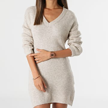 Only - Robe Pull Femme Philina Beige Chiné